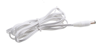 White DC two-core cable 2x0.5mm2 with a 2.1x5.5mm plug